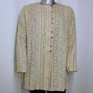Vintage Stripe Pattern Long Sleeve Button Tunic 20